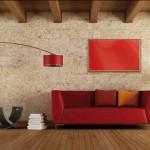 Panel rdeče barve na steni